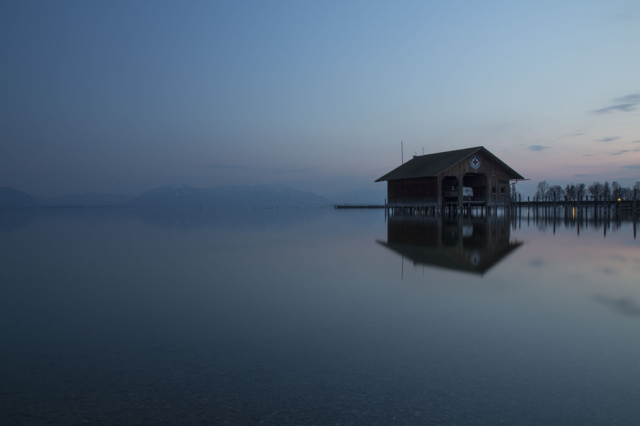 Chiemsee - boathouse at blue hour, Germany