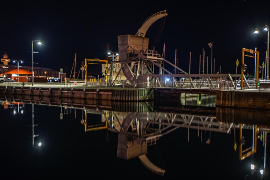 Crane pre dawn Hobart Tasmania, Australia