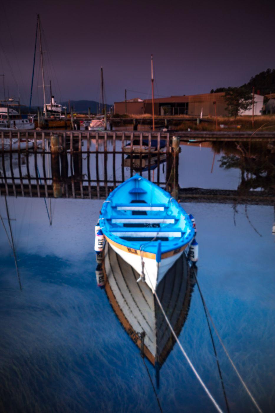 Franklin blue boat blue hour Tasmania, Australia