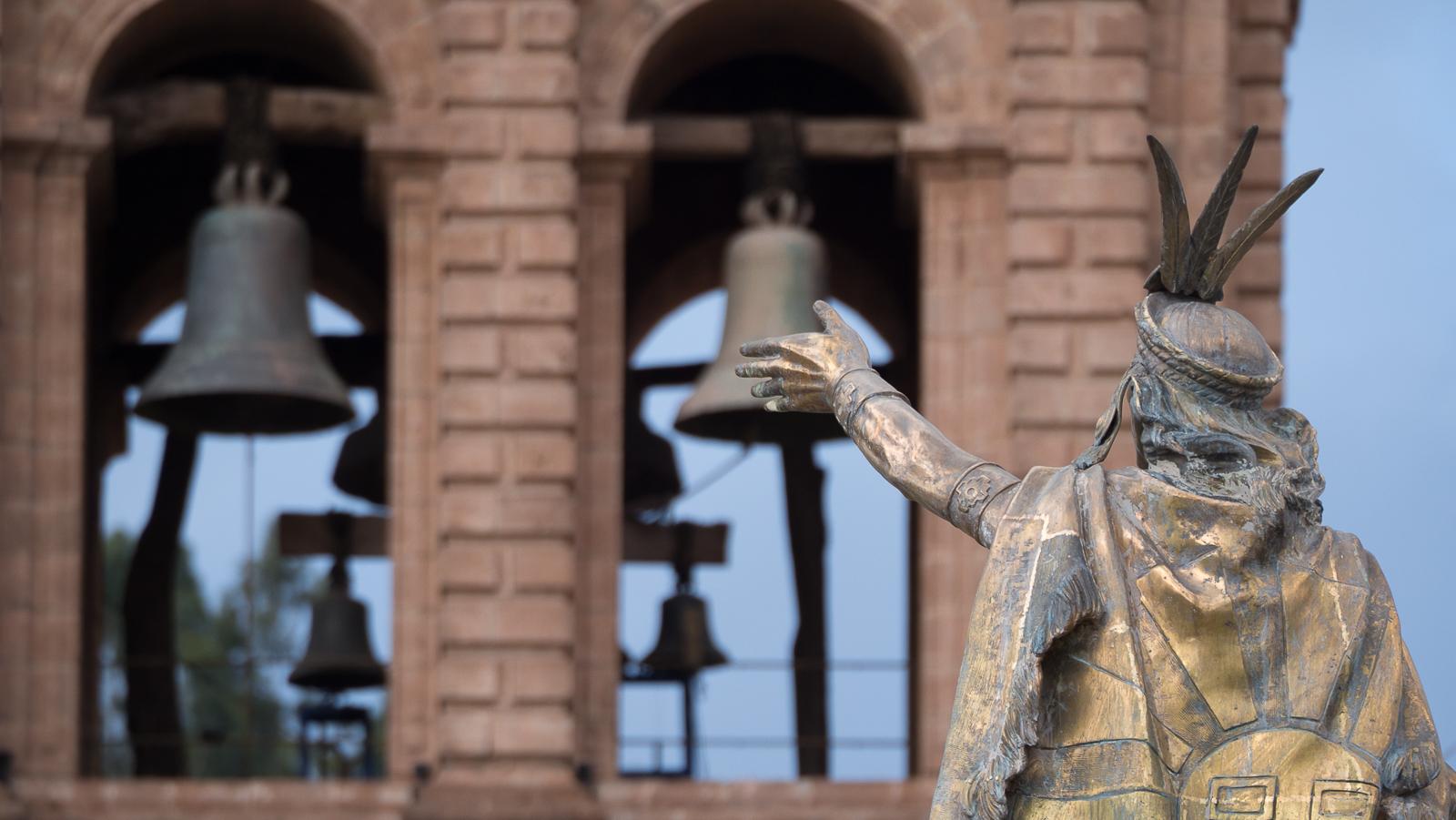 Inca touching bells, Peru