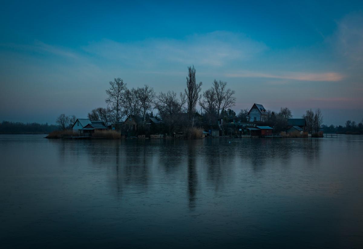 Small island on fishing lake, Hungary