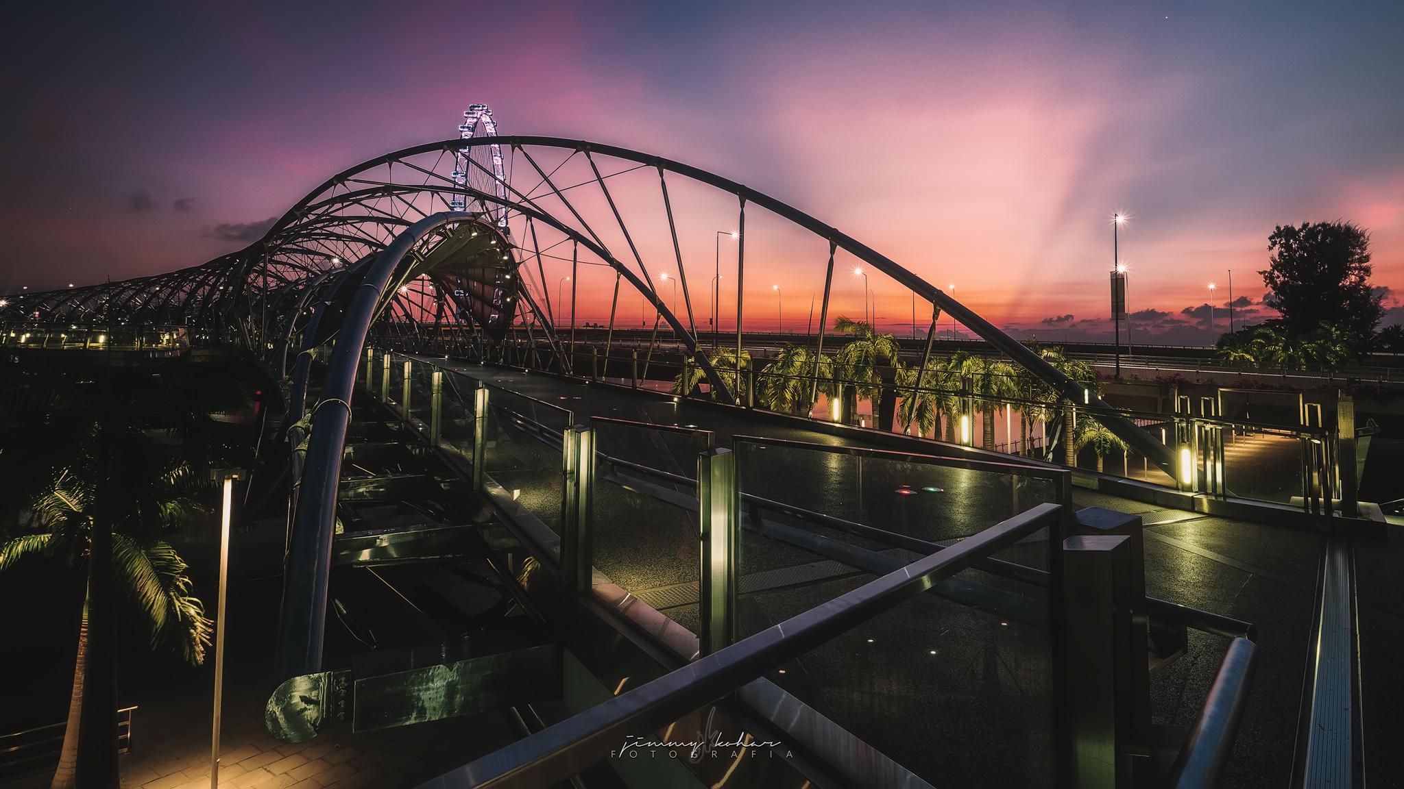 Sunrise from the Helix Bridge, Singapore