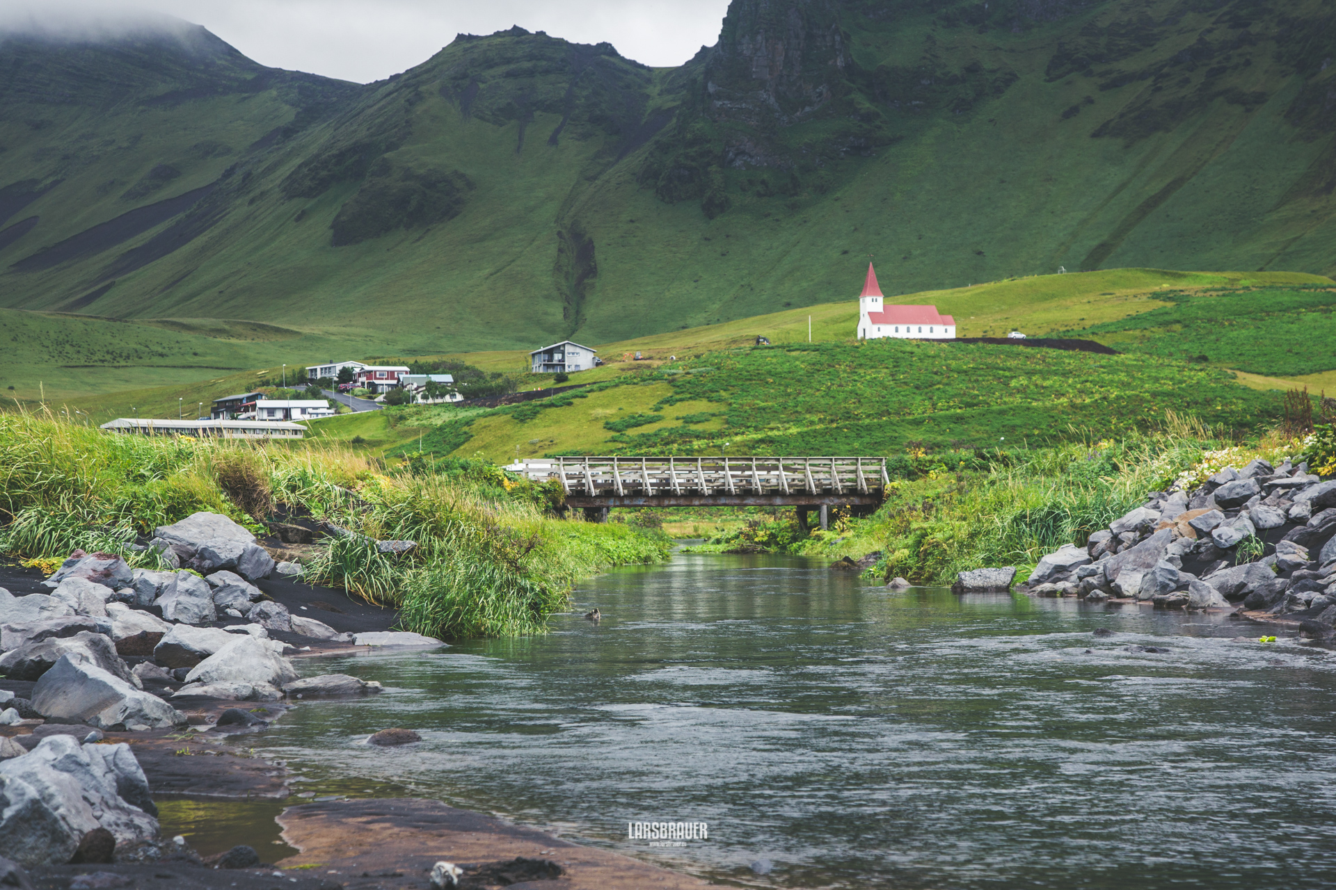 Town of Vík and the chruch, Iceland