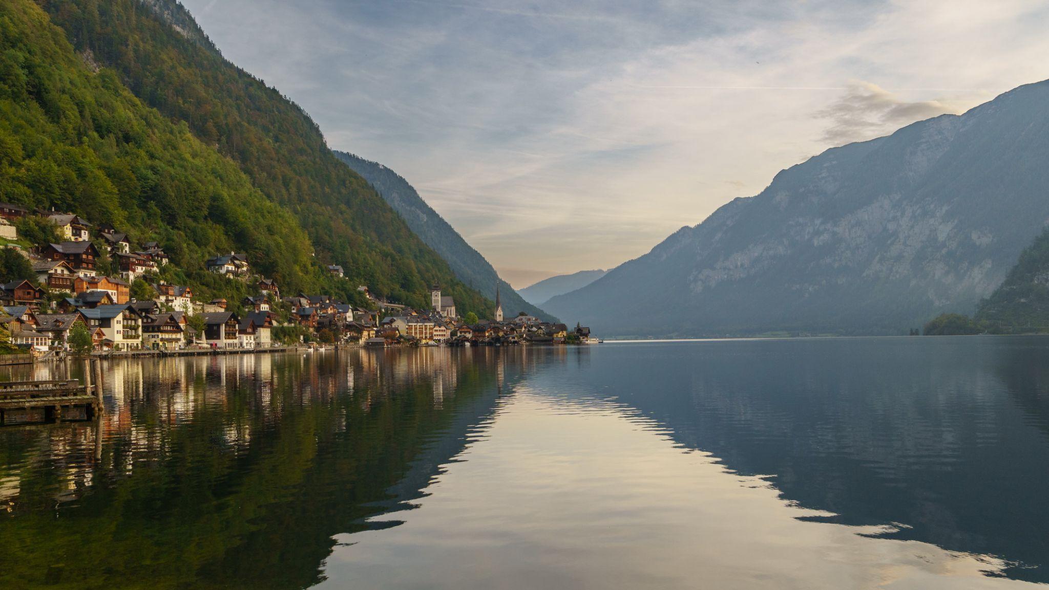 Down the lake view of Hallstatt, Austria