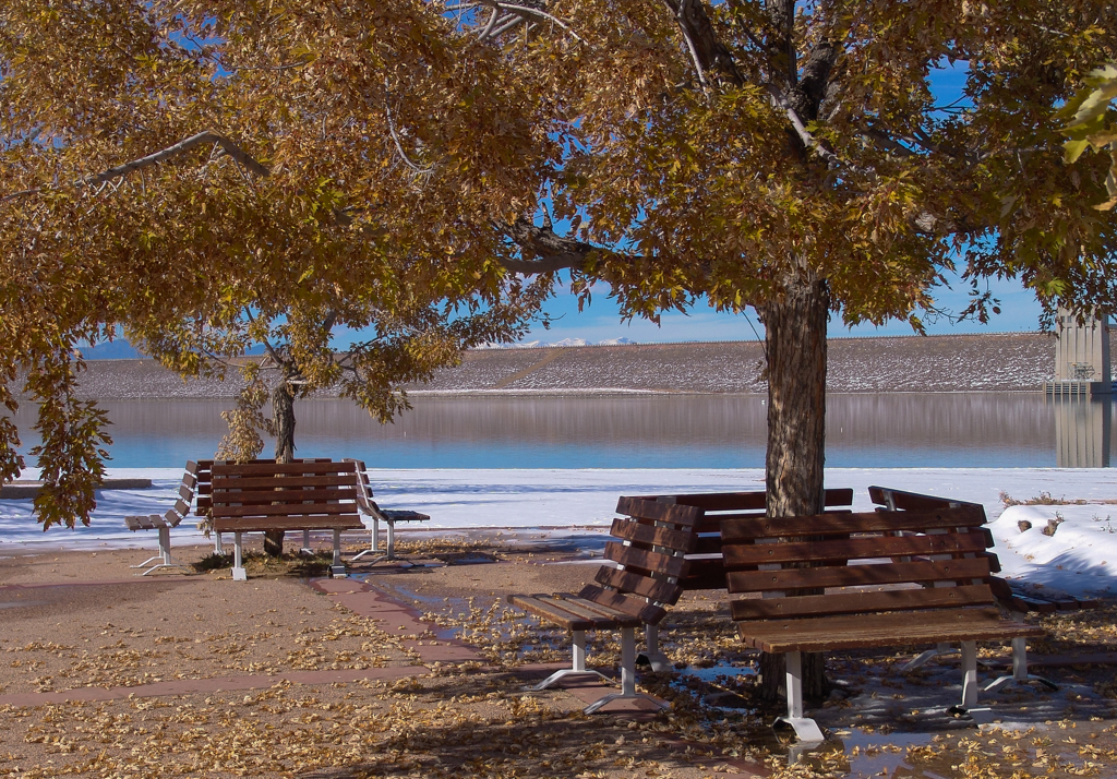 Benches at Cherry Creek Reservoir, USA