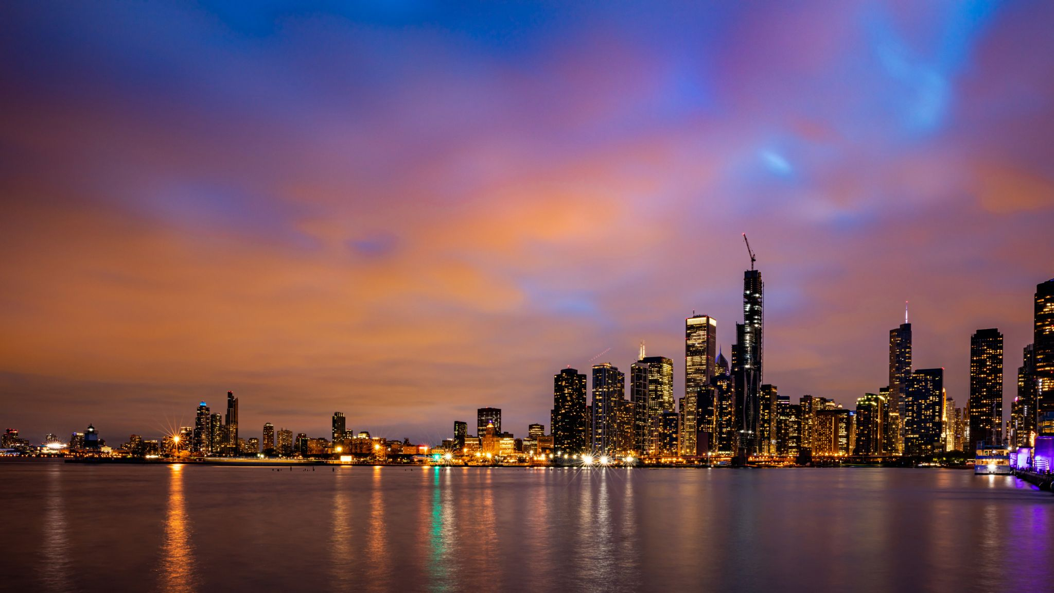 Chicago Skyline from Navy Pier Terminal Building, USA