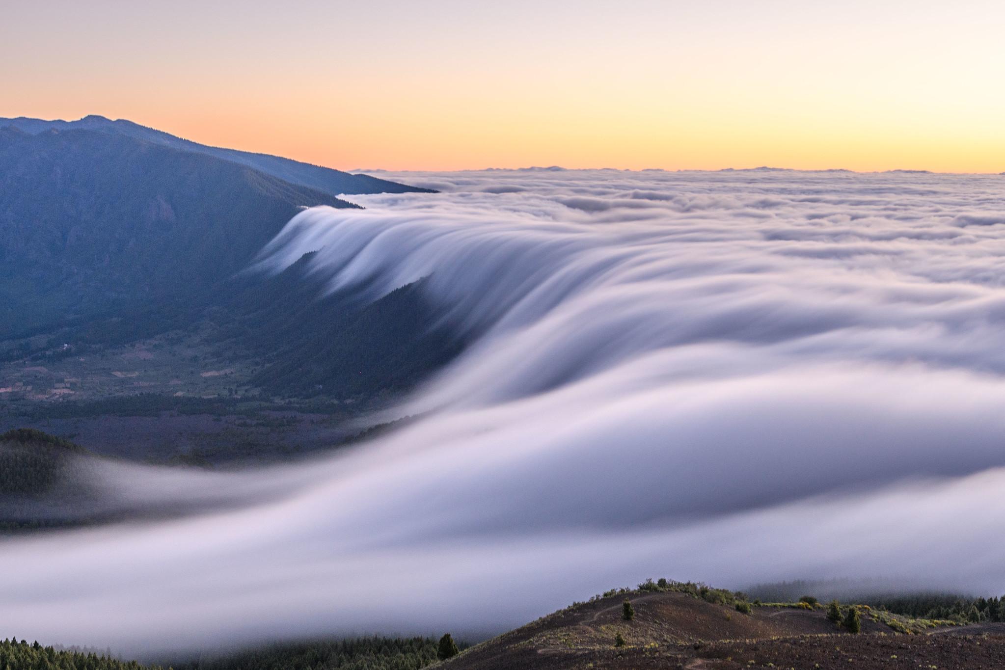 Cloud Waterfall in La Palma, Spain
