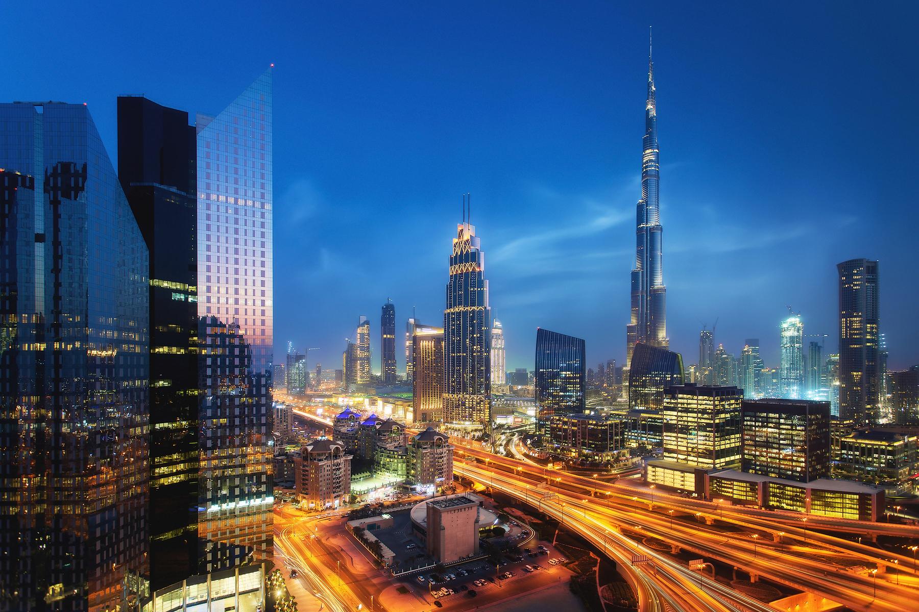 Dubai skyline from Dusit Thani Hotel, UAE, United Arab Emirates