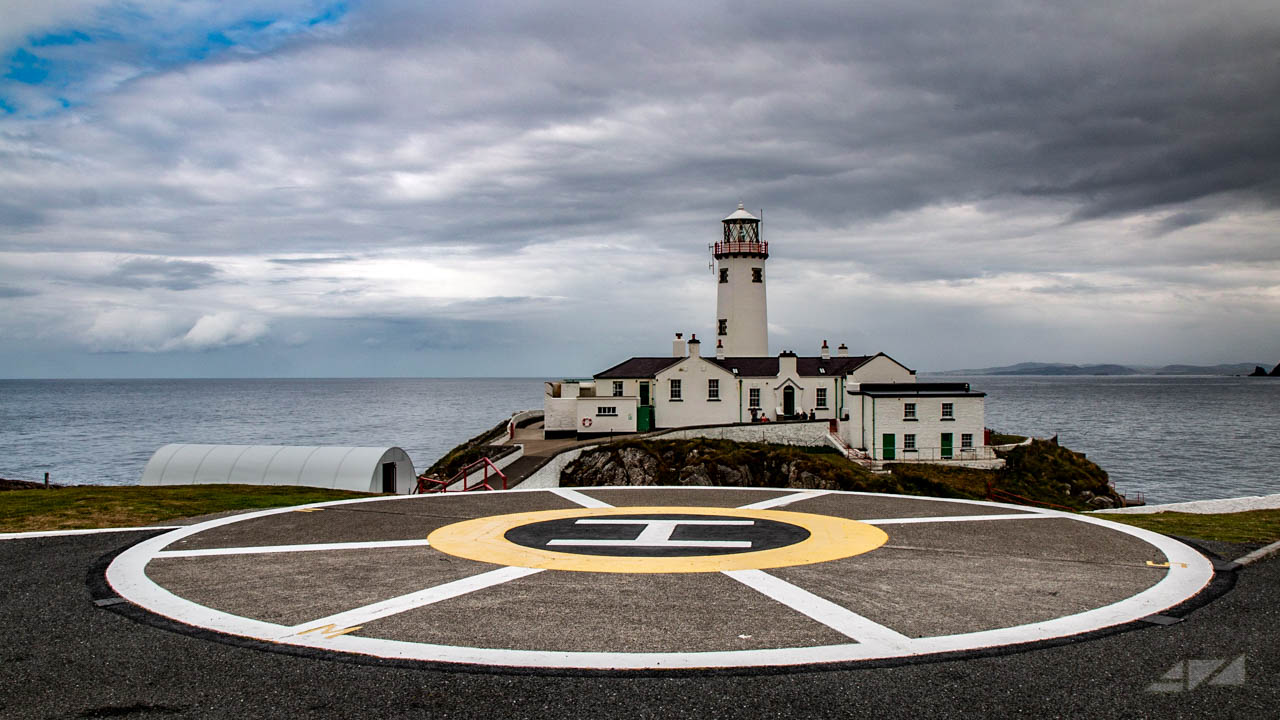 helicopter landing base in Fanad Head Lighthouse, Ireland