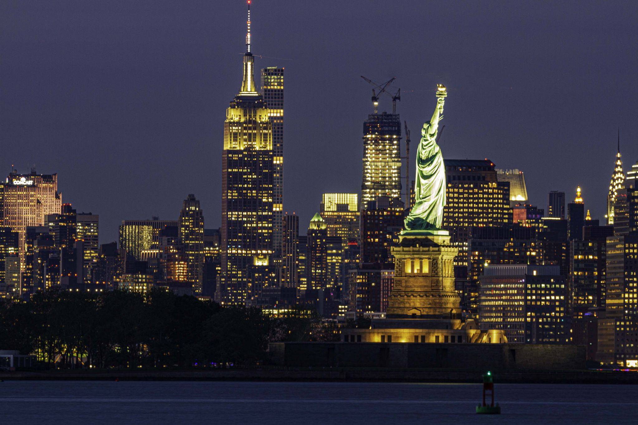Liberty Statue with Empire State Building, USA