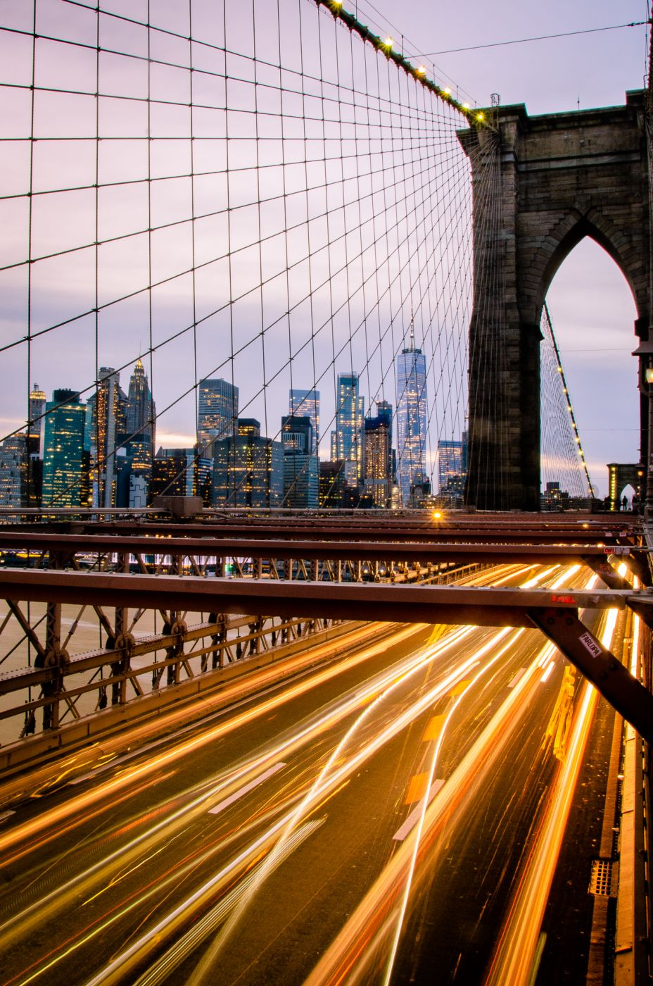 Nightime Views of NYC skyline from Brooklyn Bridge, USA