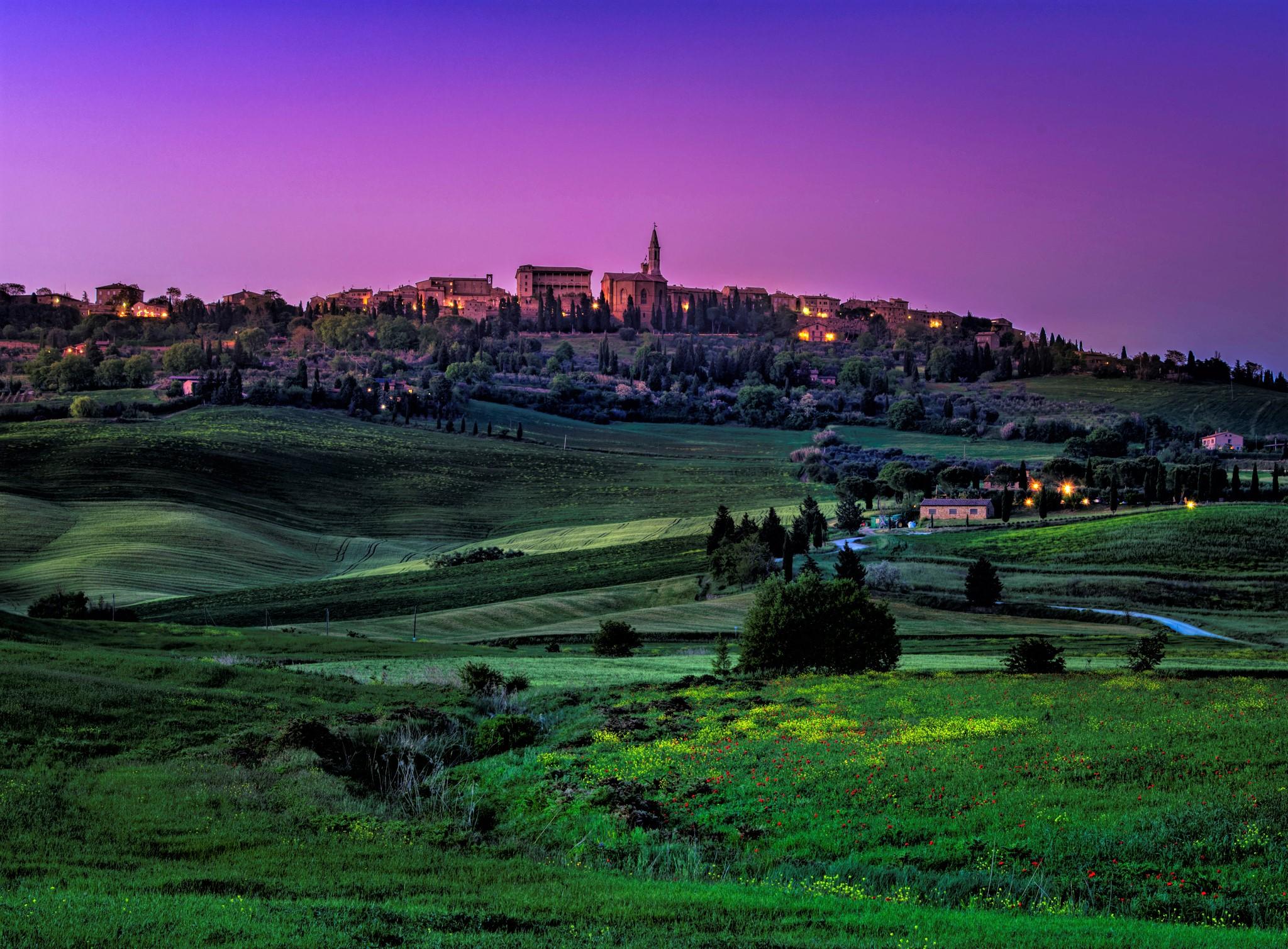 Pienza at twilight, Italy