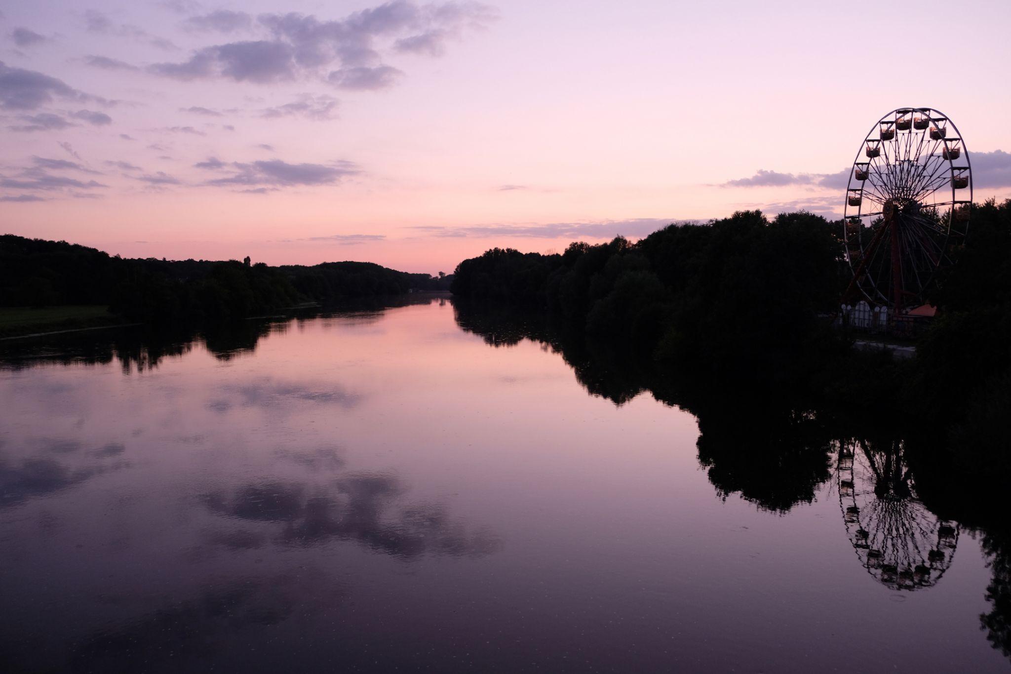 Sunset on Cher river, France