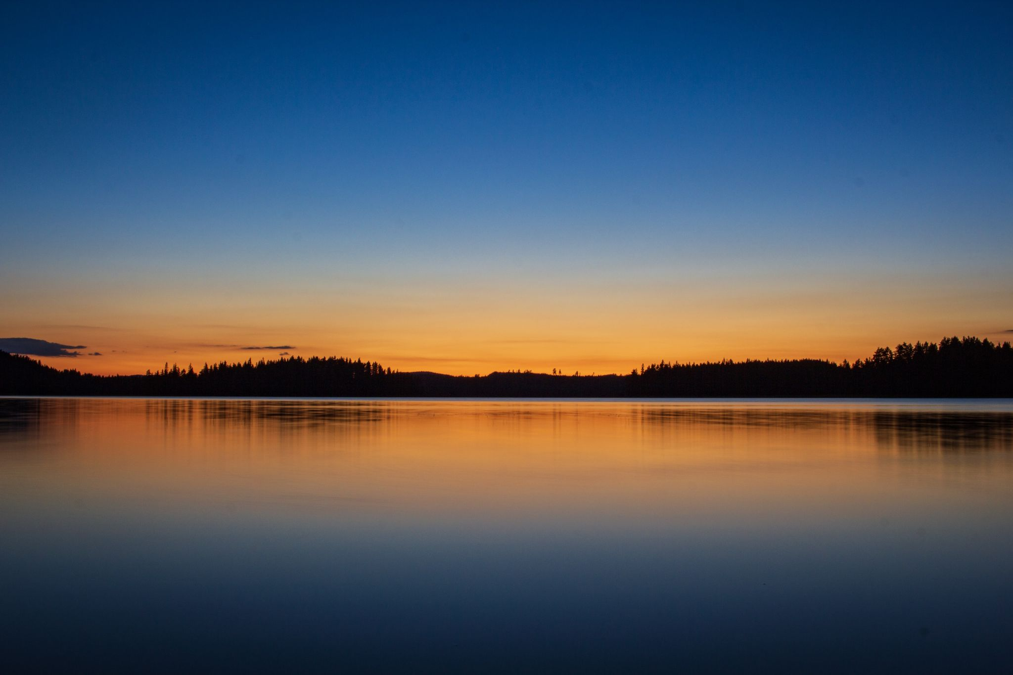 Sunset on 'private beach' on canoe trip, Sweden
