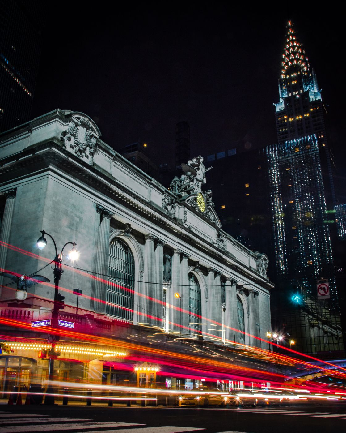 Upward View of Grand Central and Chrysler Building, USA