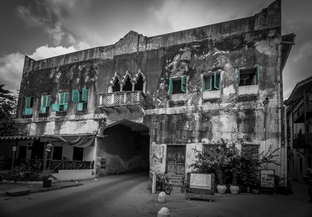 Building with a road through it Zanzibar, Tanzania