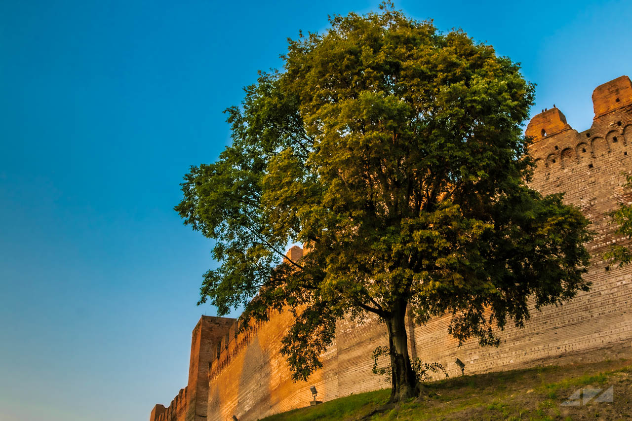 Cittadella walls from the river, Italy