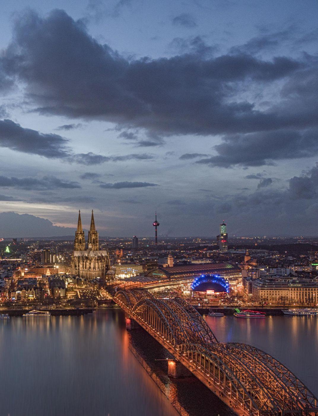 Cologne cityscape from KölnTriangle, Germany