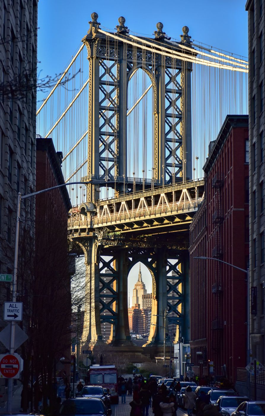 Empire State Building framed by Manhattan Bridge, NY, USA