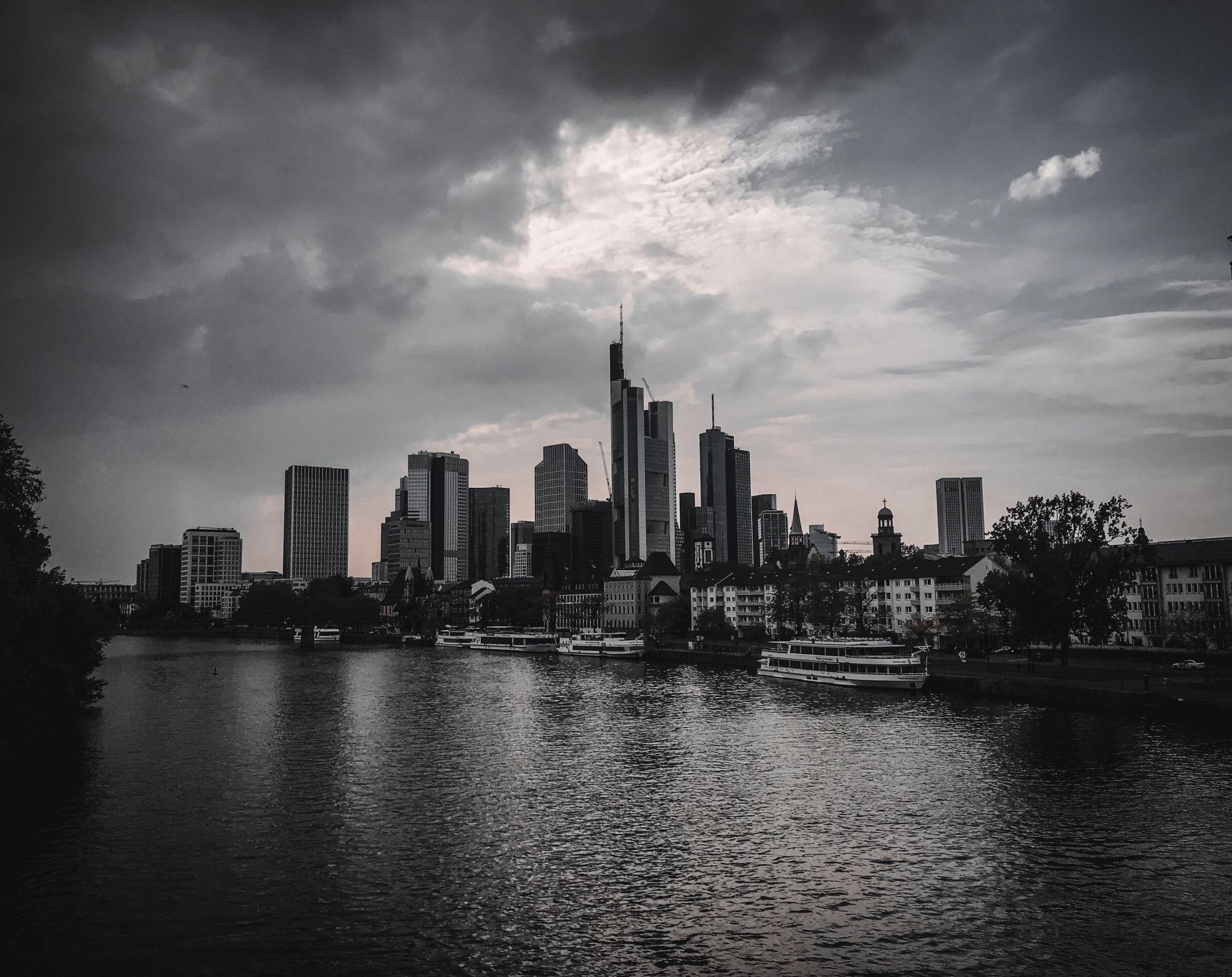 Frankfurt Skyline from Untermainbrücke, Germany