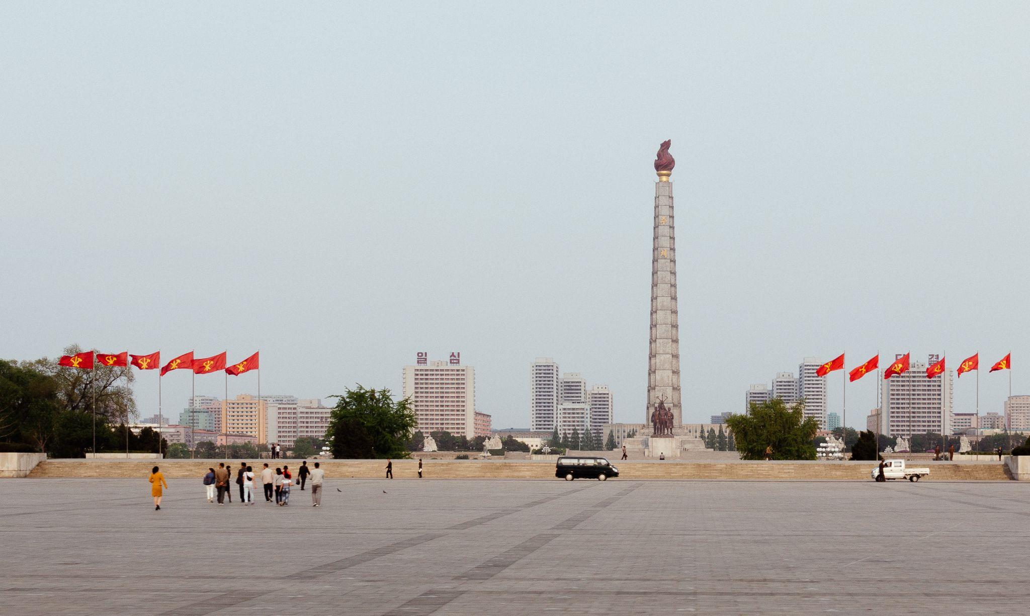 Juche Tower from Kim Il Sung Square, Korea