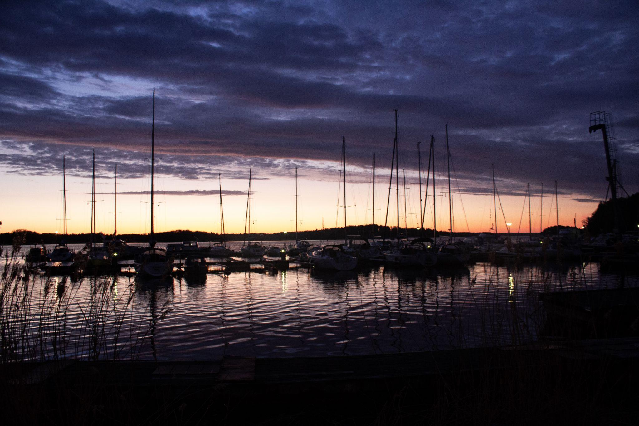 Sunrise over the docks, Sweden