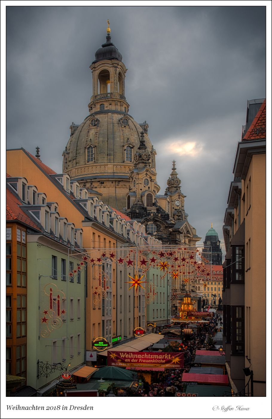 View into the Münzgasse and the Woman Church Dresden, Germany
