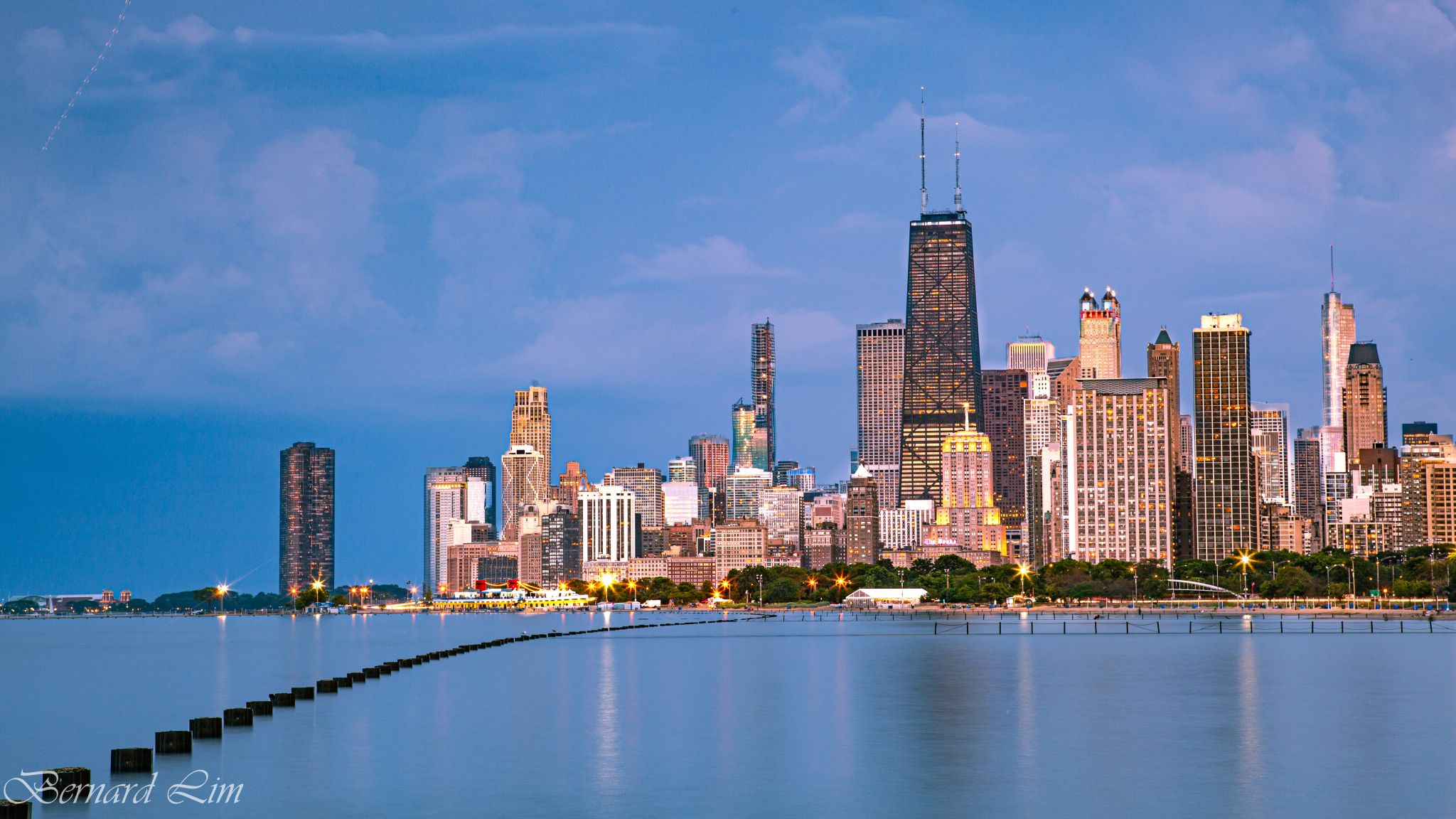 View of downtown Chicago from Fullerton Beach, USA