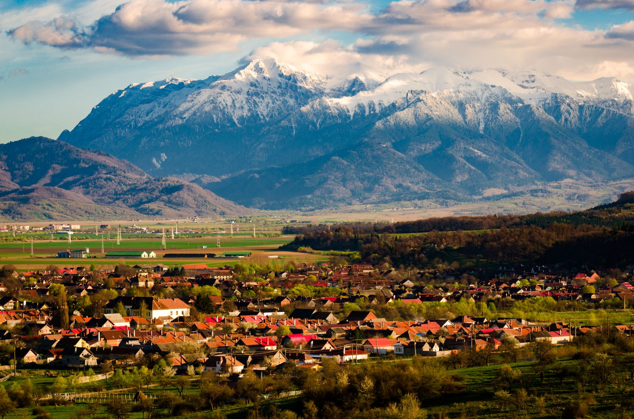 View to the city of Vulcan and mountains, Romania