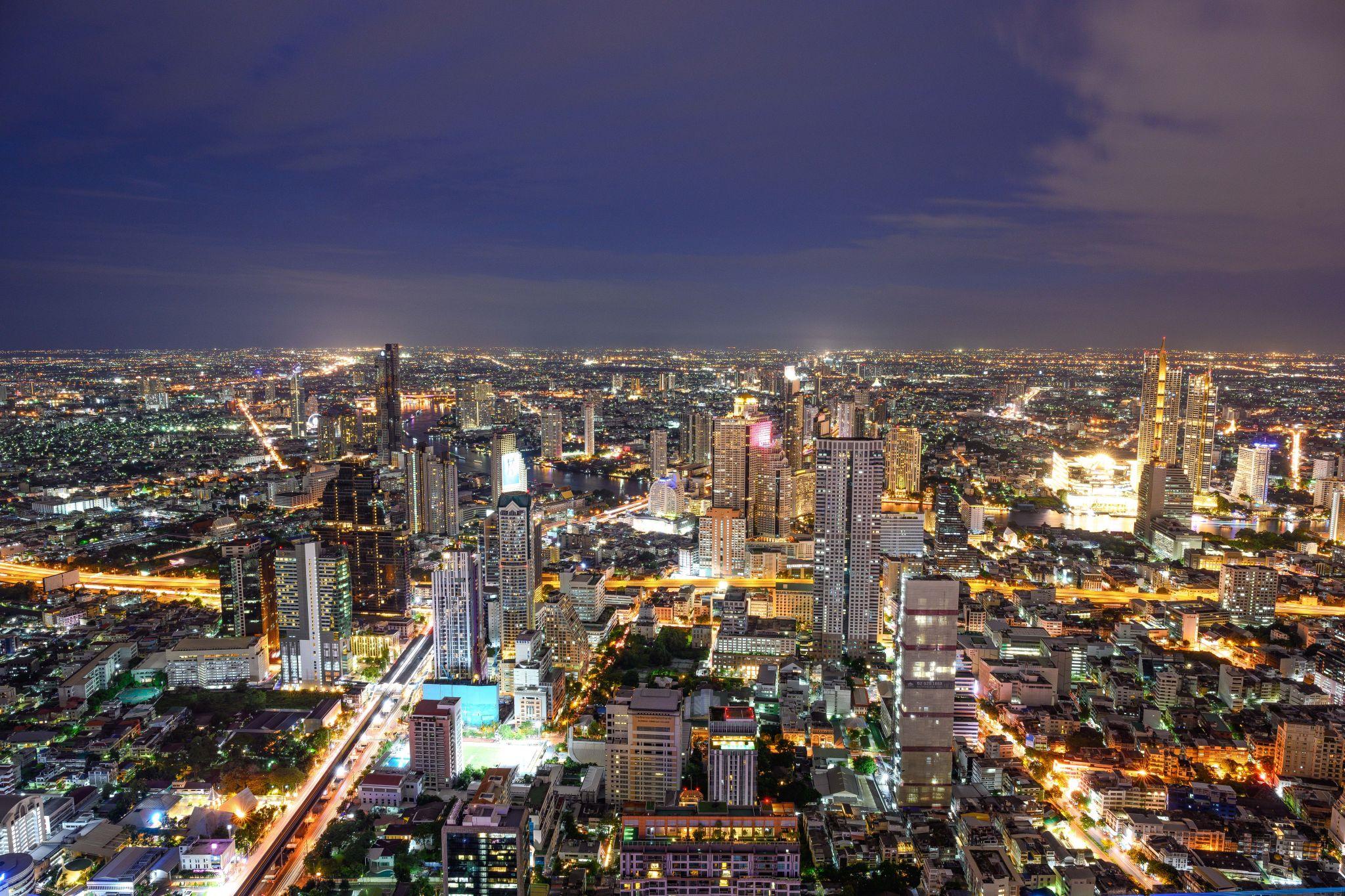Bangkok Skywalk Night View, Thailand
