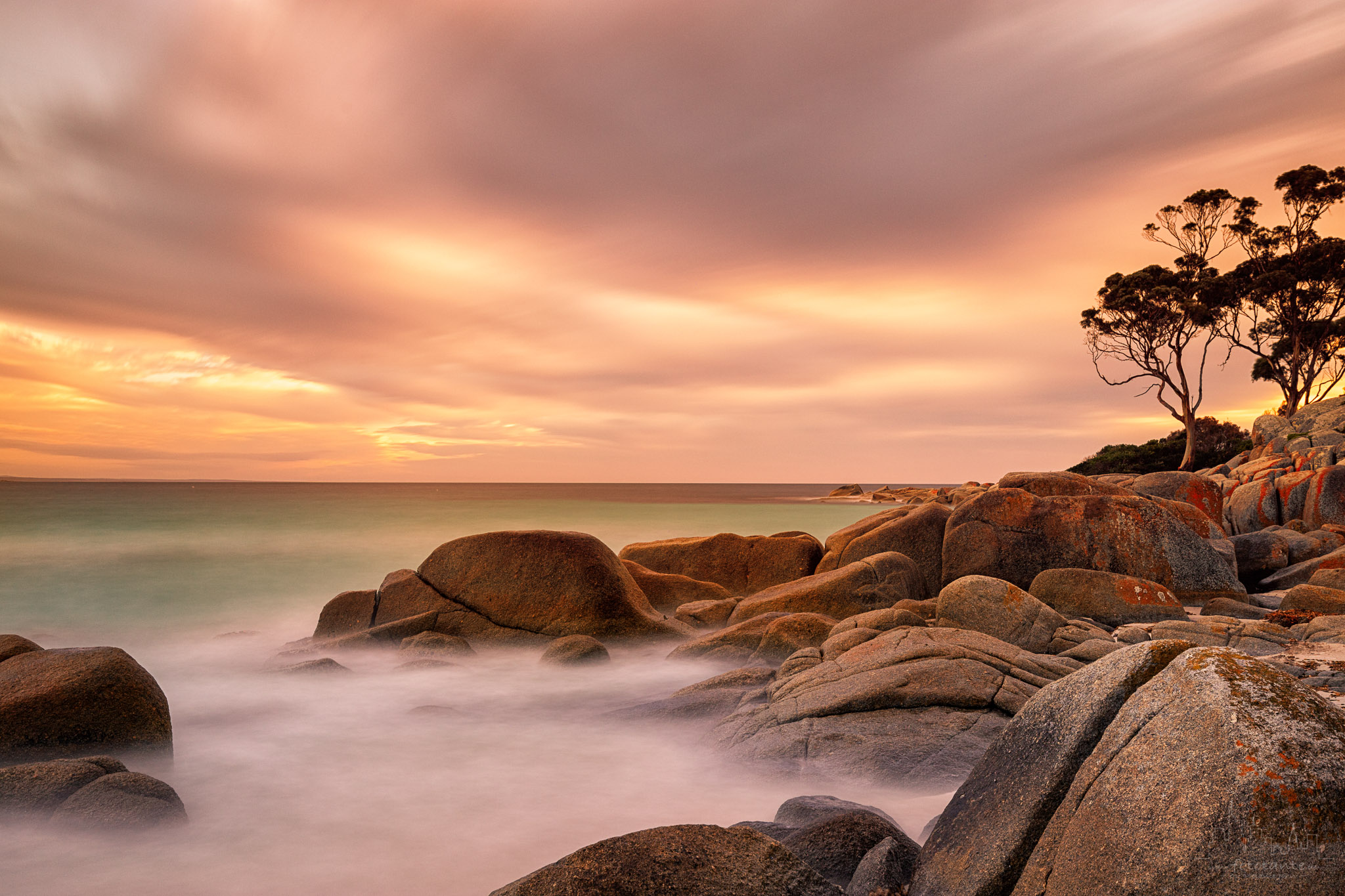 Binalong Bay sunrise, Tasmania, Australia, Australia