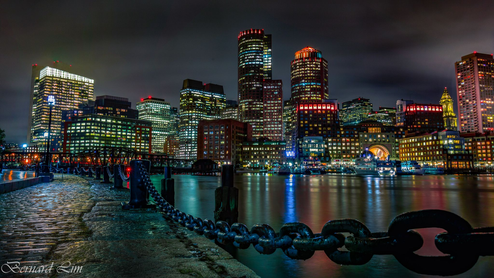 Boston Harbour after rain, USA