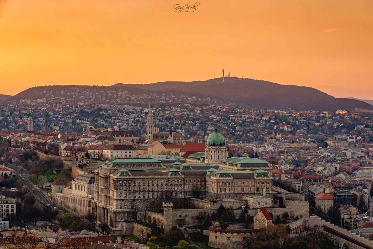 Buda castle from Citadelle., Hungary