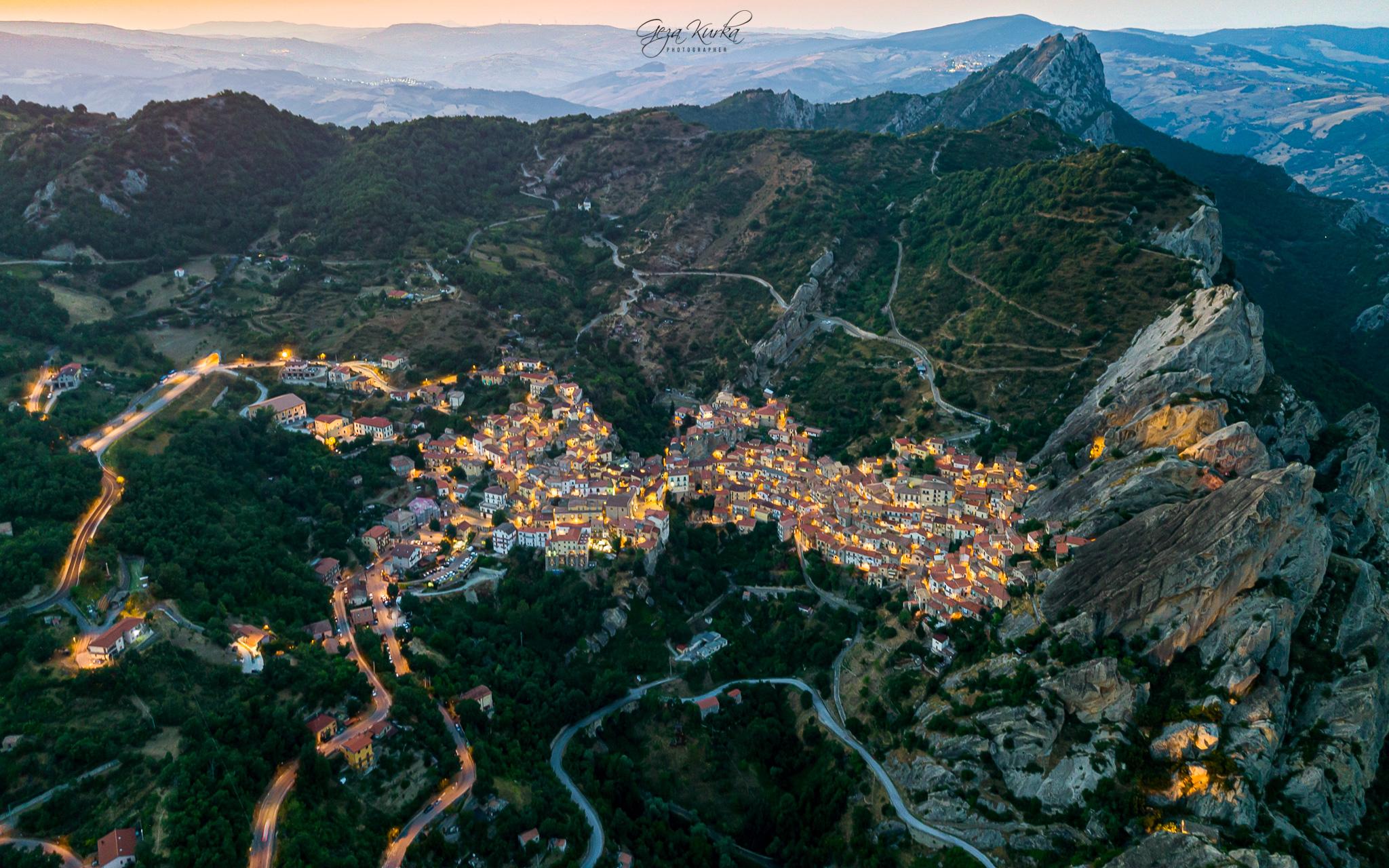 Castelmezzano with drone, Italy