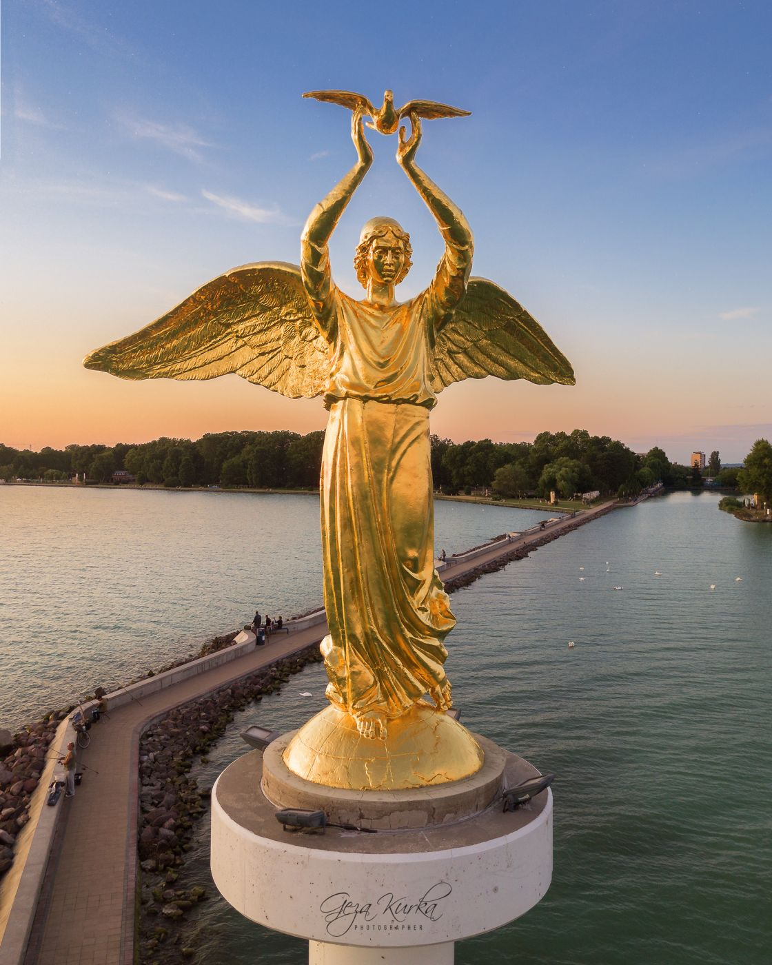 Gold angel in Siofok's marina, Hungary