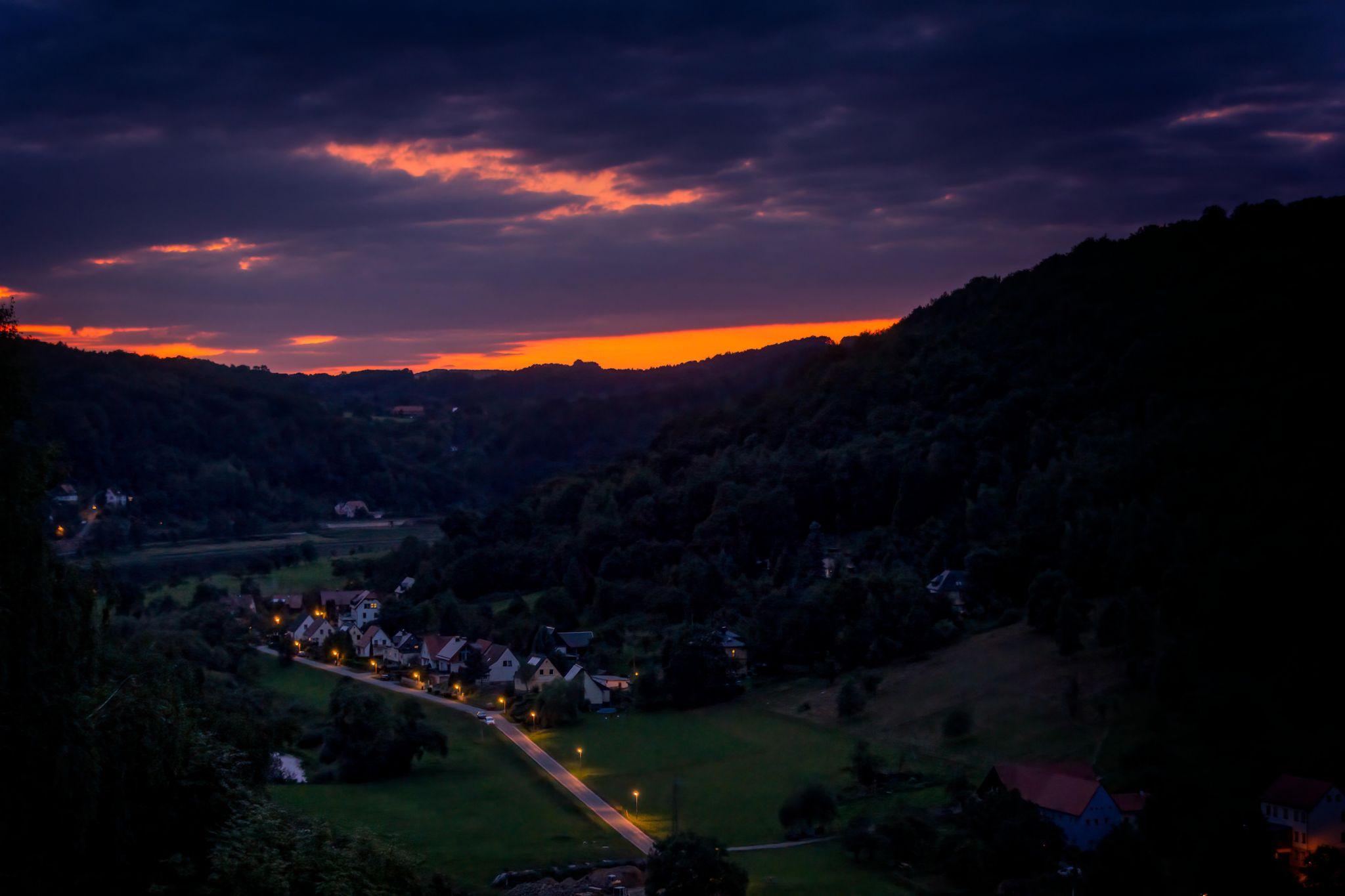 Halbestadt Night View from Königstein, Germany