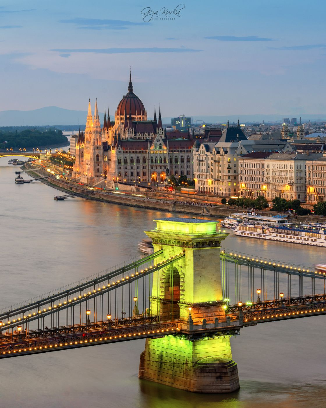 Hungarian parliament & chain bridge, Hungary