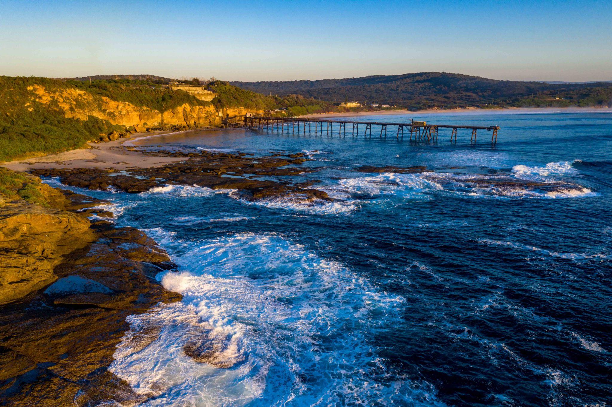 Catherine Hill Bay Jetty Drone Newcastle, Australia