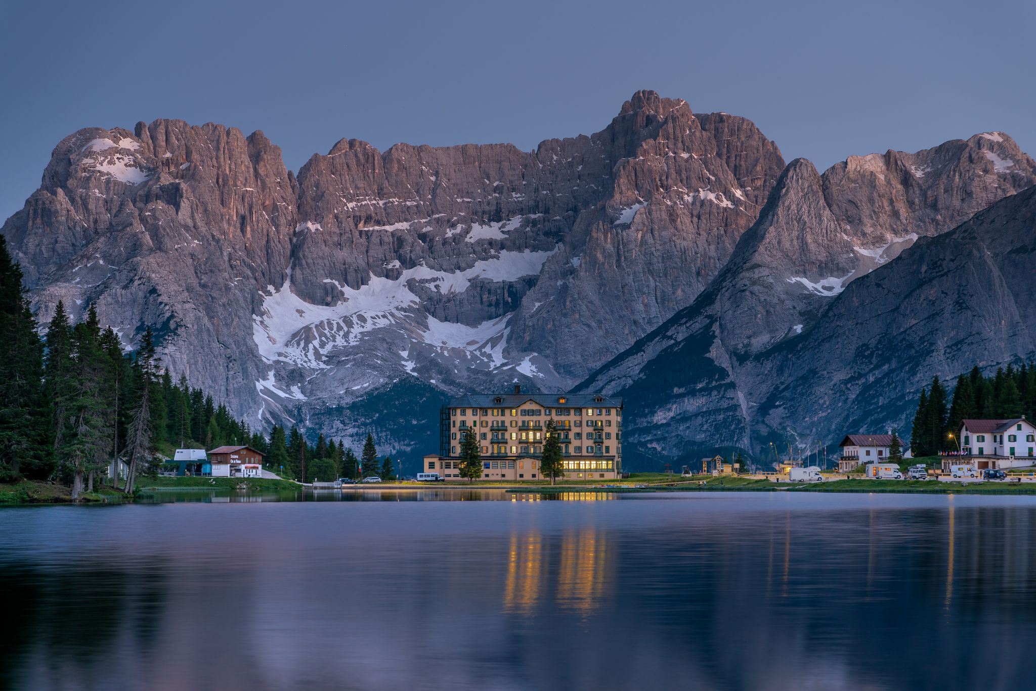 Lake Misurina in blue hour, Italy