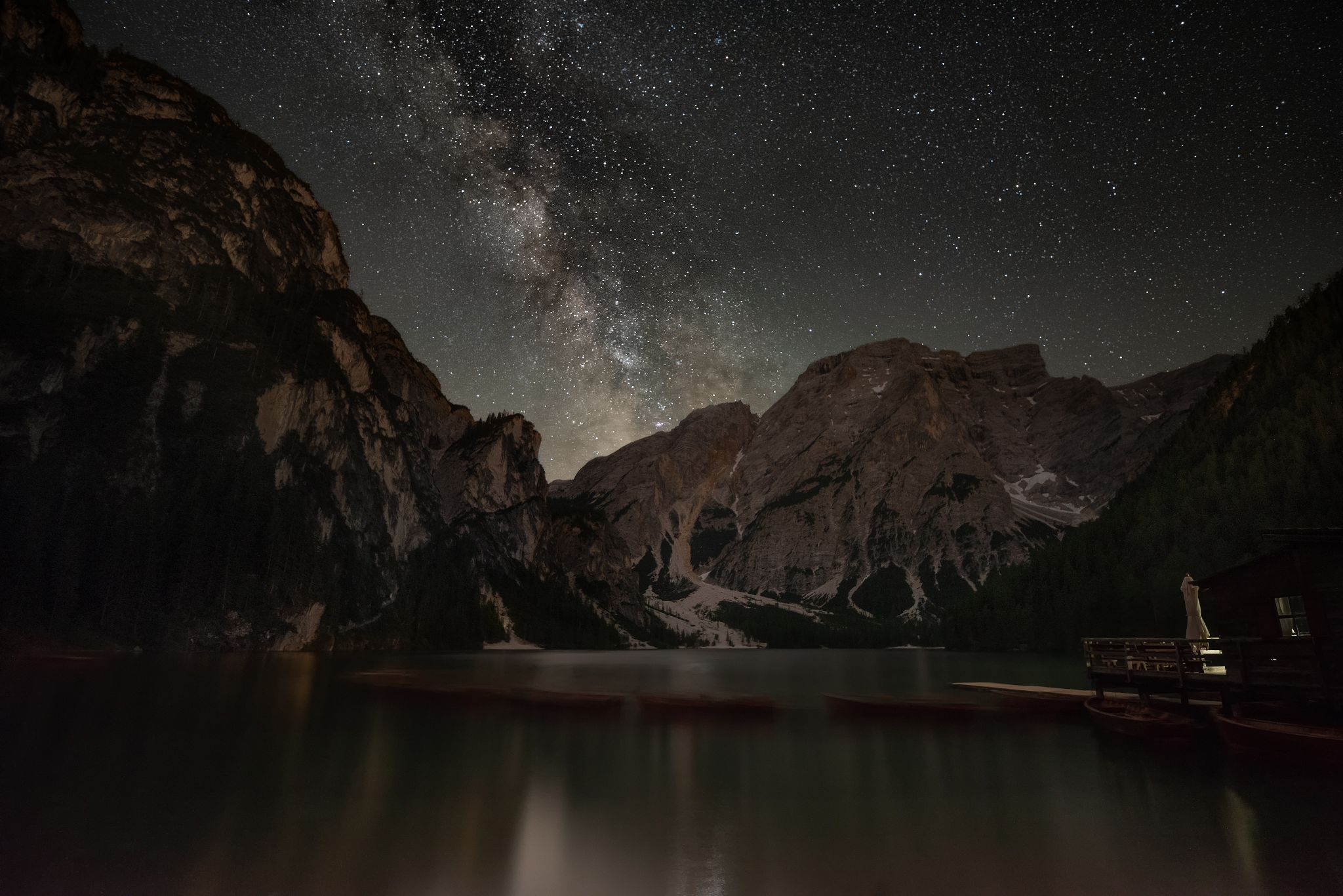 Milky Way above the Lago di Braies, Italy