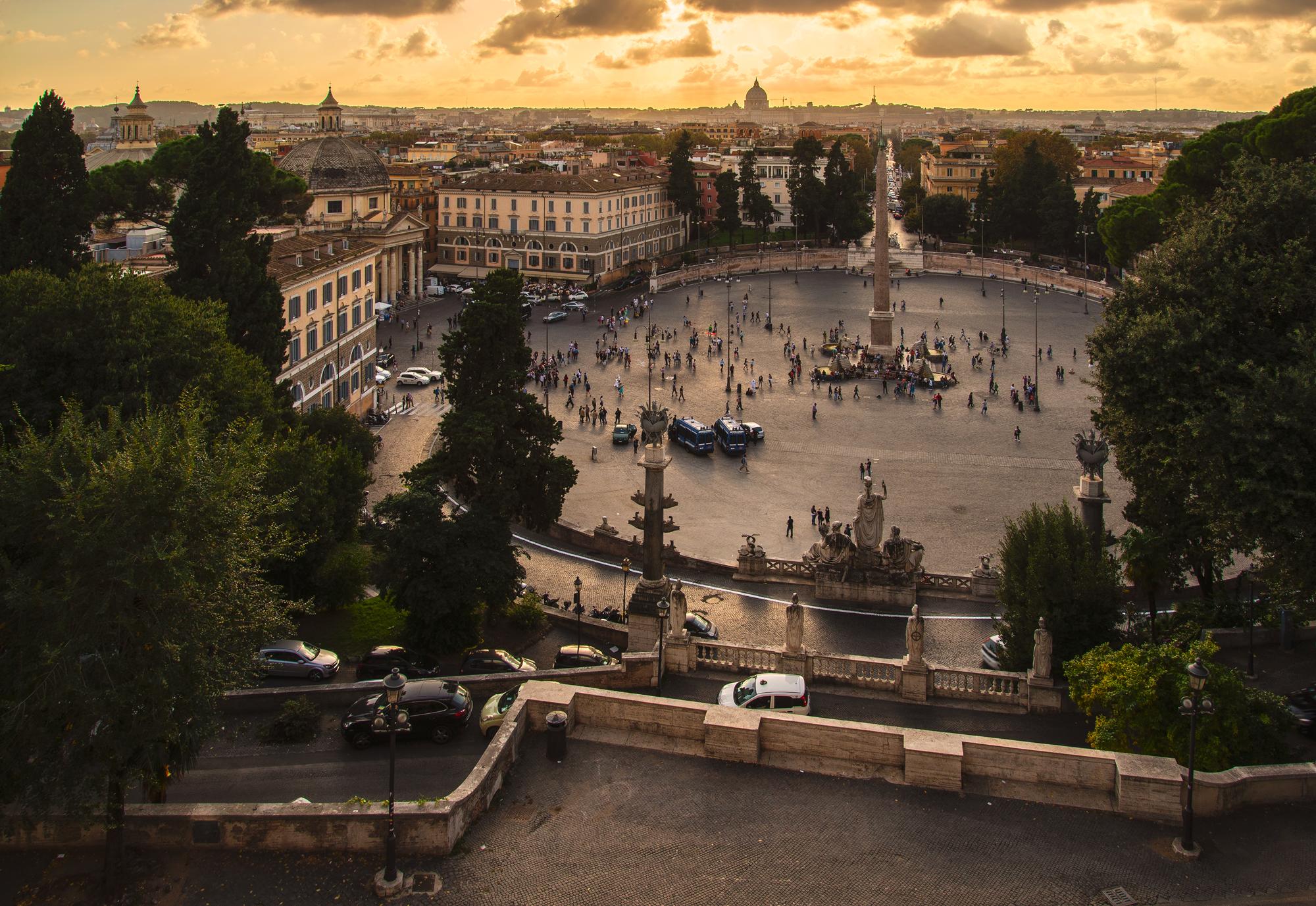 Rome From Terazza Del Pincio Villa Borghese Park Italy