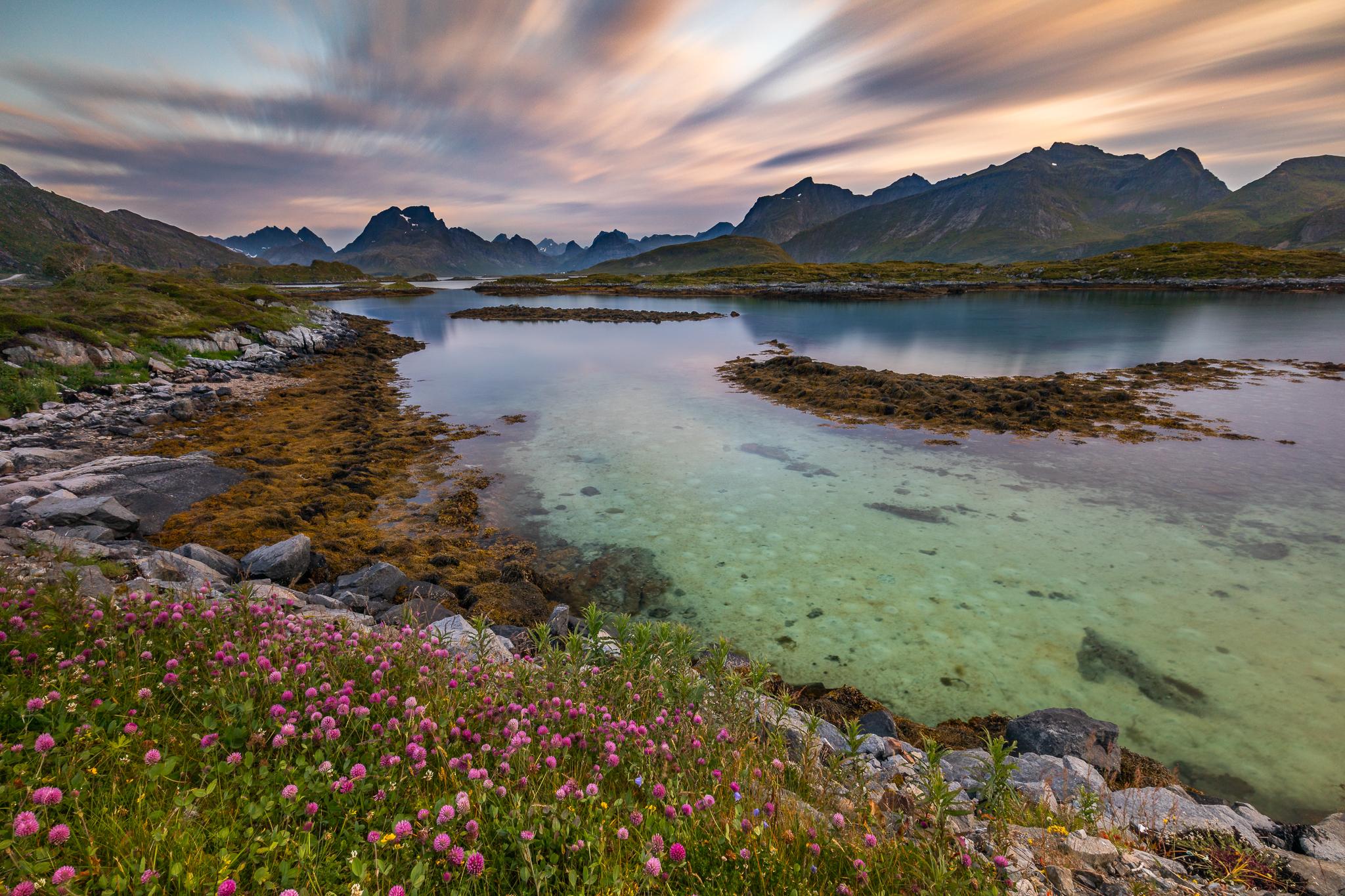 Selfjorden and the summits of Moskenesøy, Lofoten, Norway