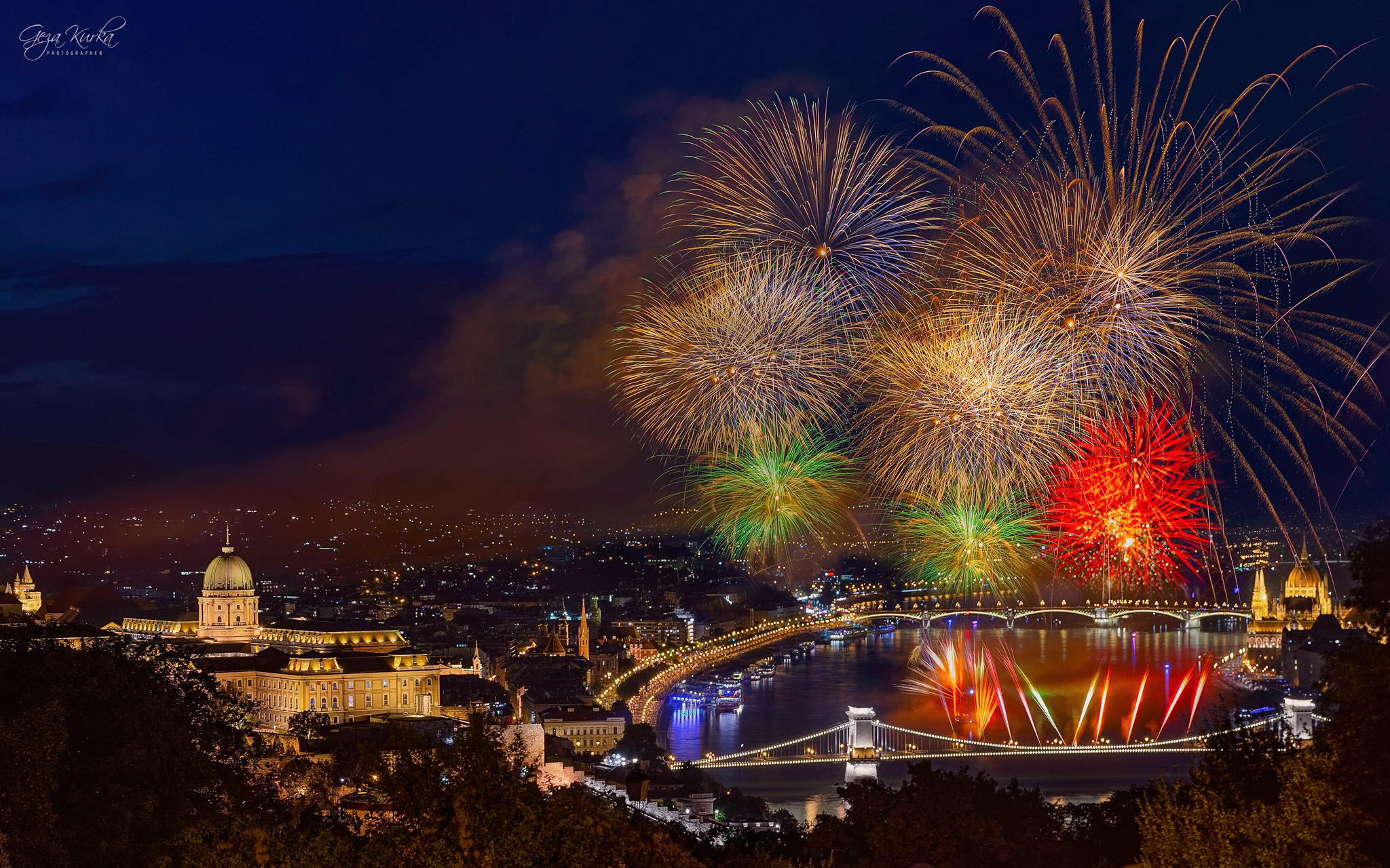 St. Stephen day in Budapest. Fireworks with night cityscape, Hungary
