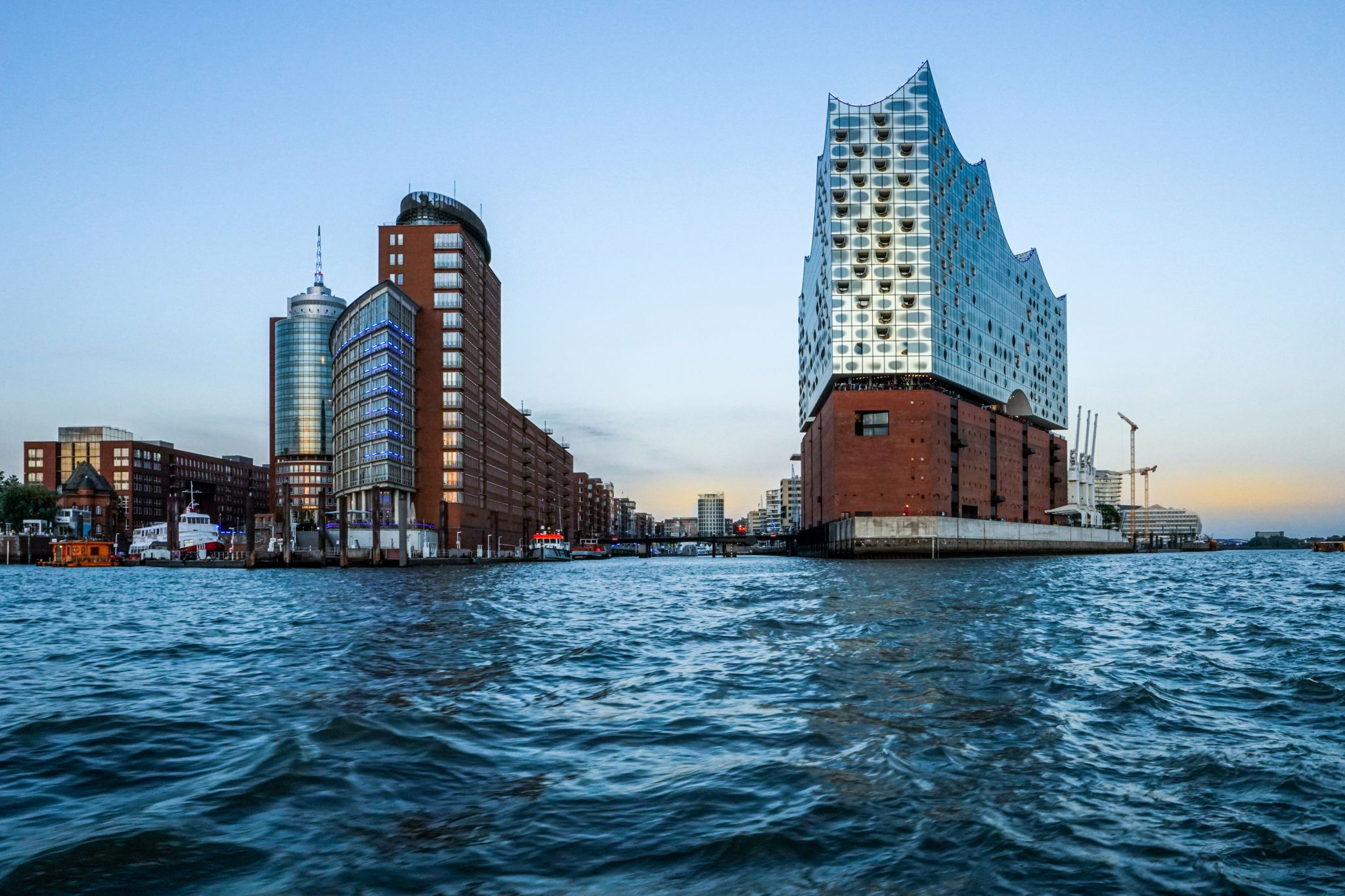 Elbphilharmonie, view from a boat, Germany