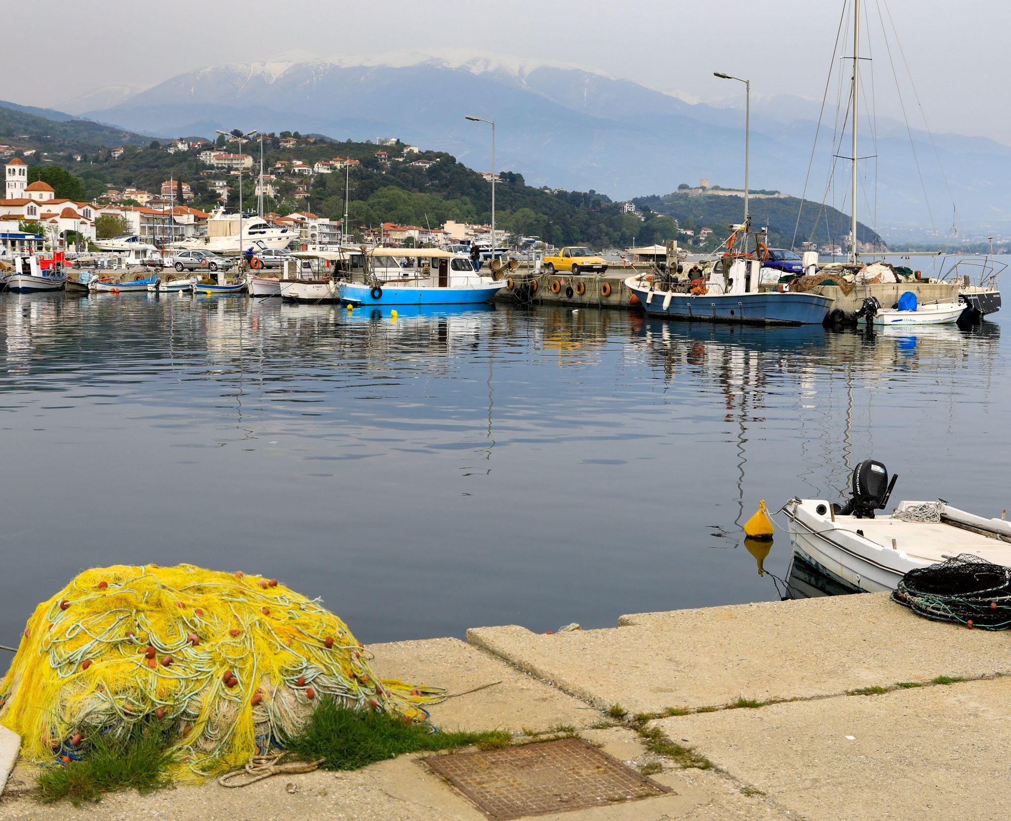 Hafen von Platamonas mit Blick auf den Olymp, Greece