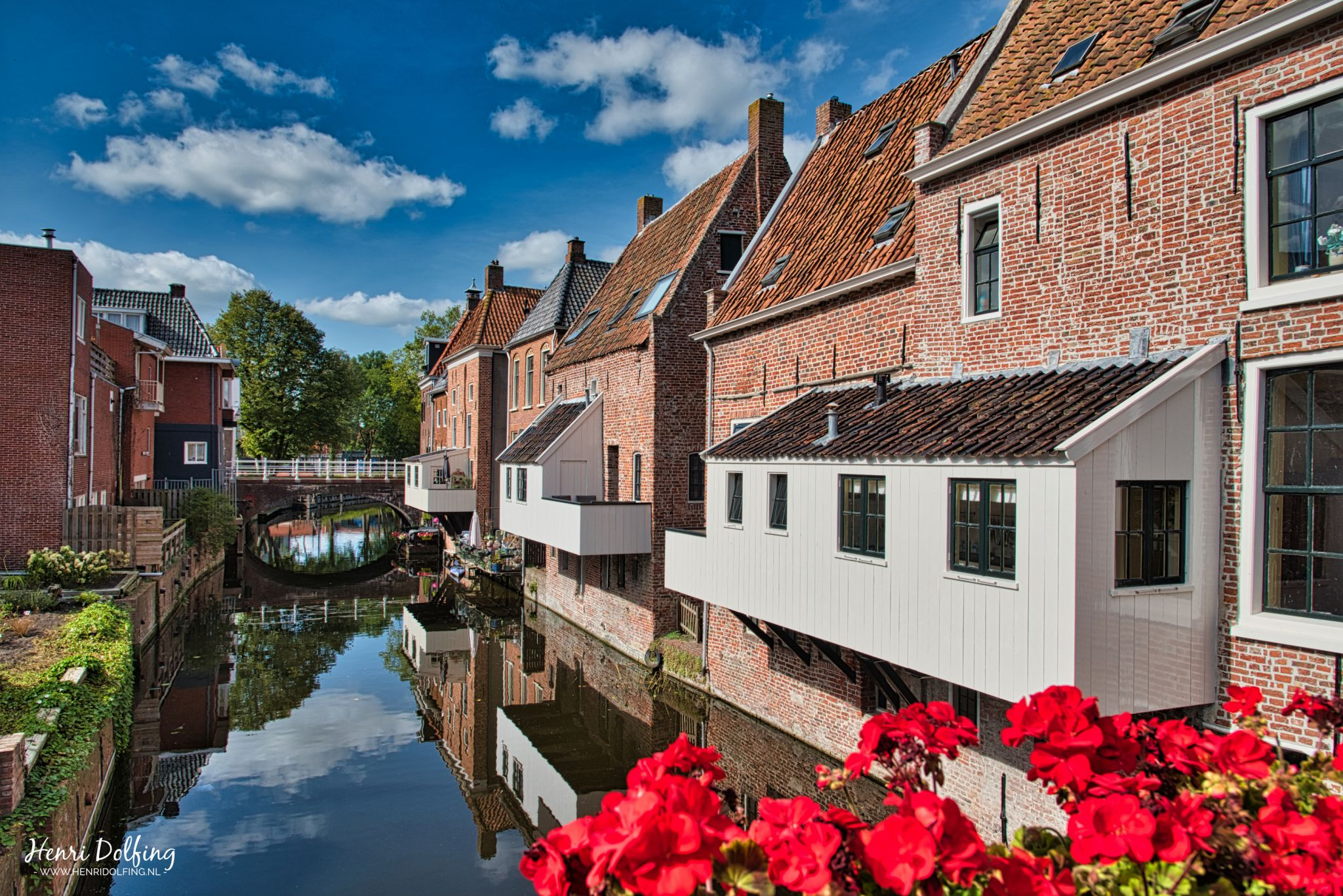 Hanging kitchens above Damsterdiep in city of Appingedam, Netherlands
