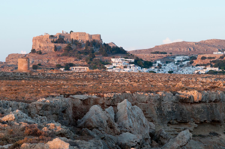 Lindos at sunrise, Greece