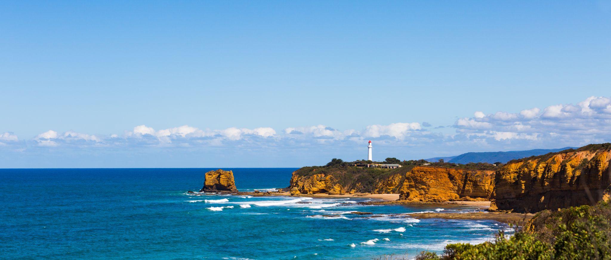 Split Point Lighthouse from Split Point Lookout, Australia
