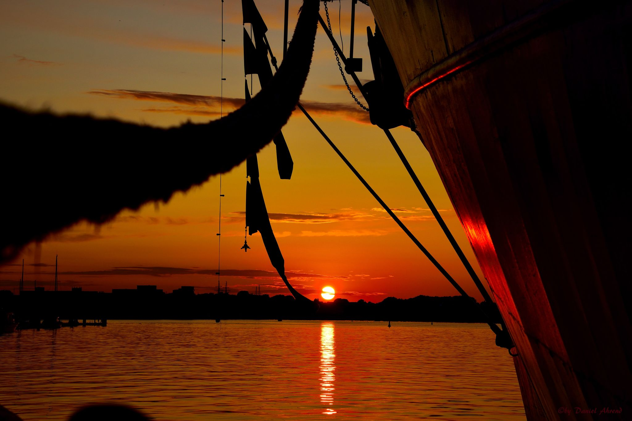 Sunset in Rostock city harbor., Germany