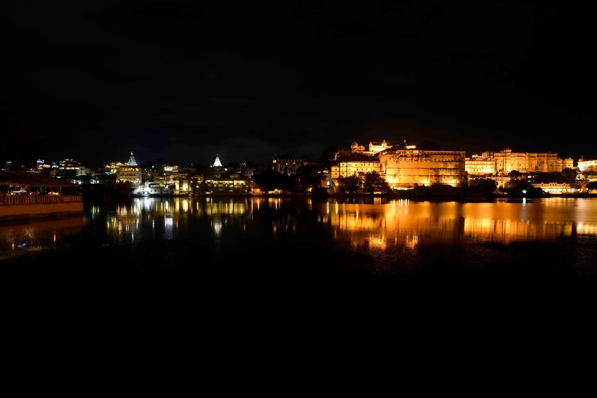 Udaipur Palace at night, India